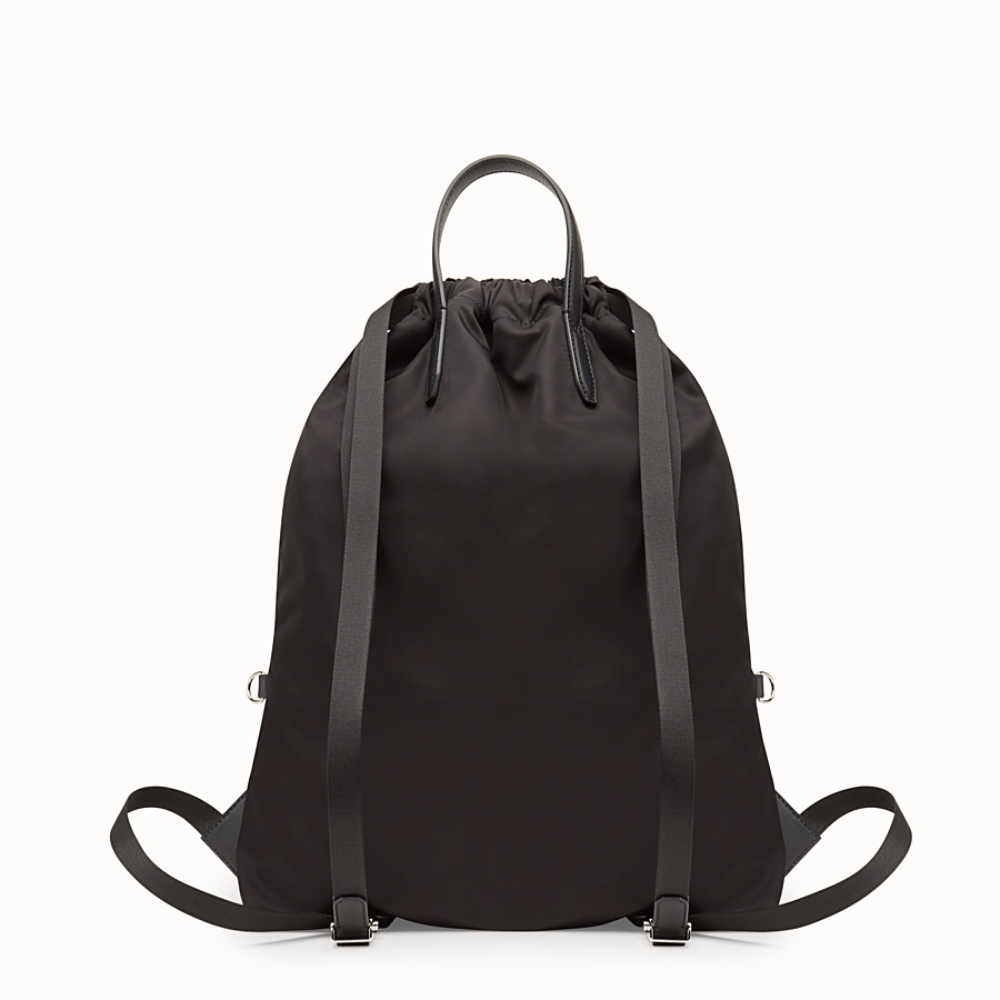 FENDI BACKPACK - Backpack in black nylon and leather - view 3 detail