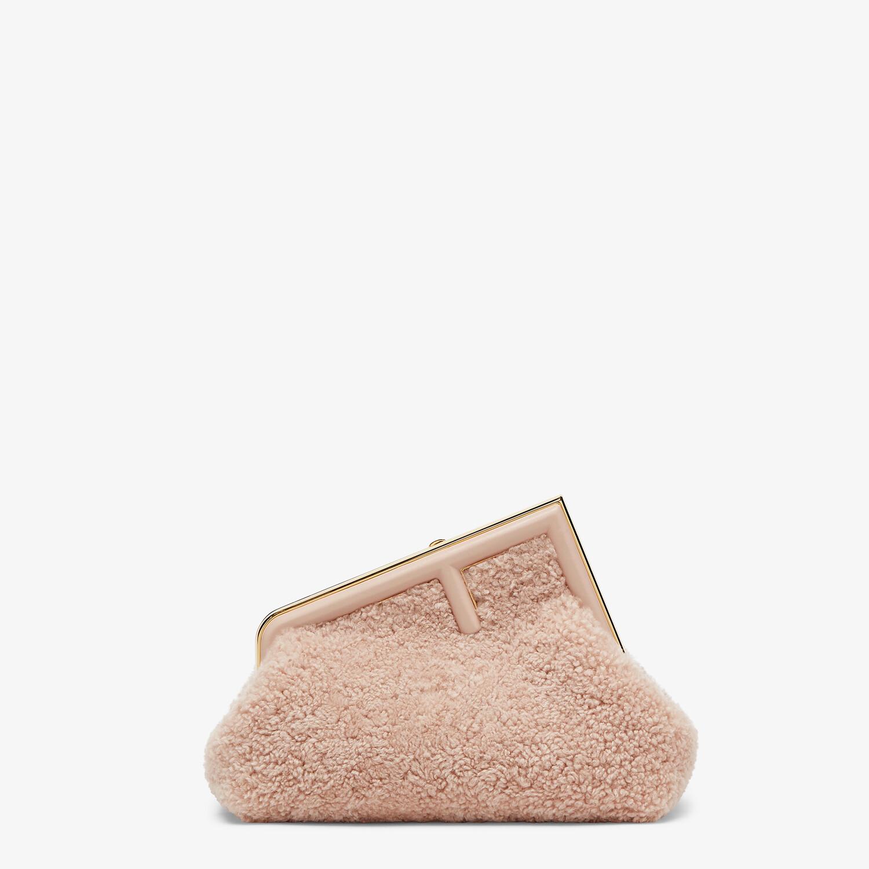 FENDI FENDI FIRST SMALL - Pink sheepskin bag - view 1 detail