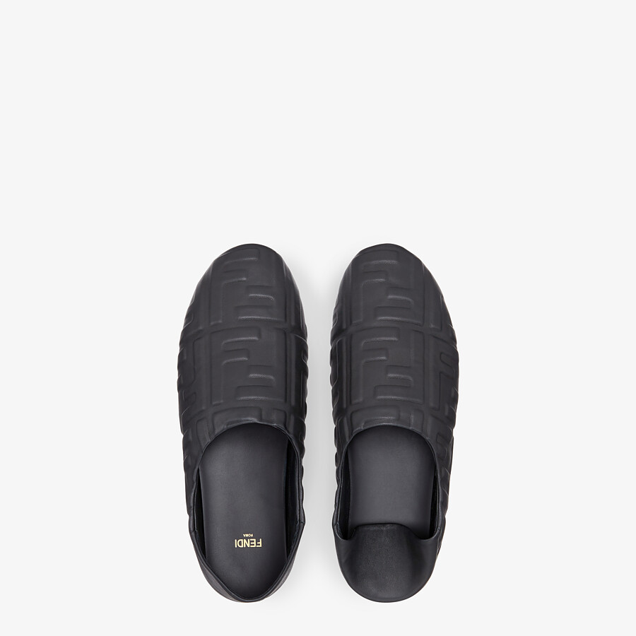 FENDI SLIPPERS - Black nappa leather slippers - view 4 detail