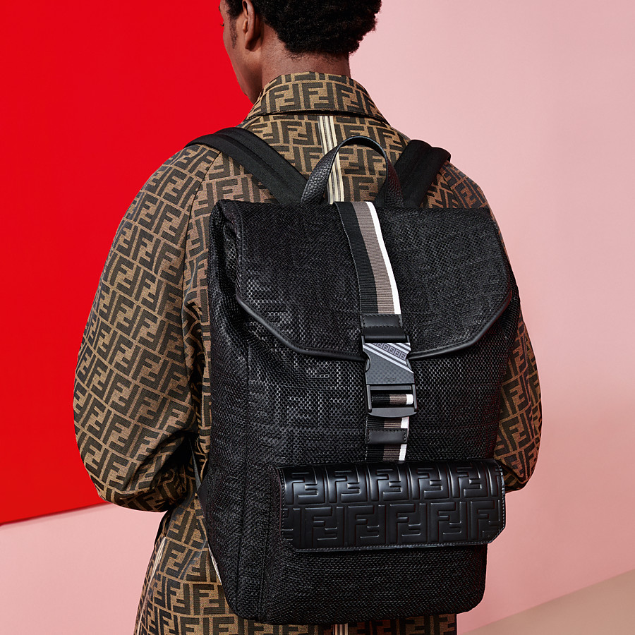 FENDI BACKPACK - Black mesh backpack - view 5 detail
