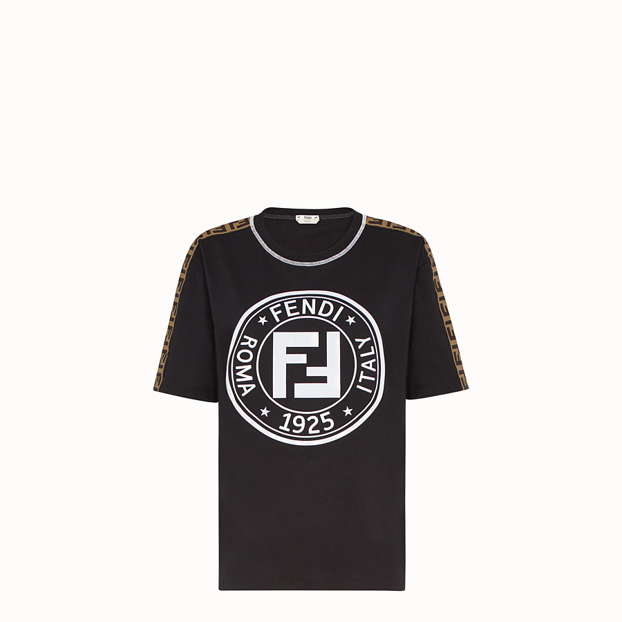 FENDI T-SHIRT - Black jersey T-shirt - view 1 detail