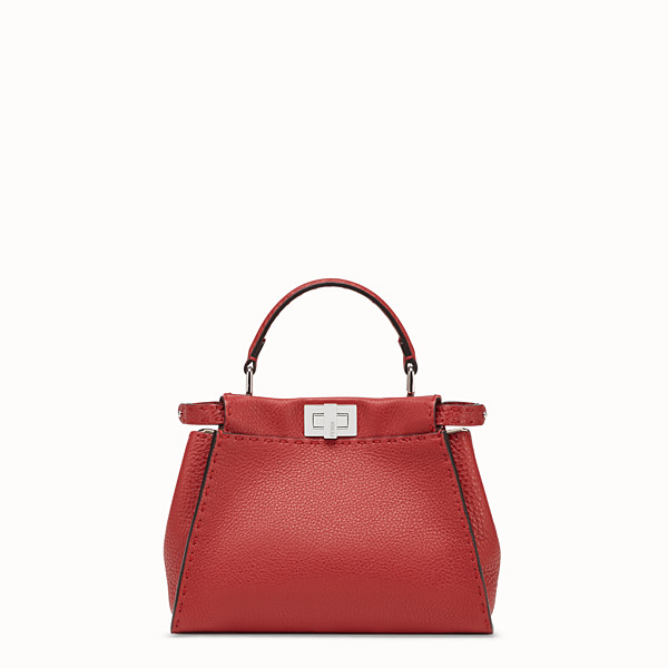 FENDI PEEKABOO ICONIC MINI - Red leather bag - view 1 small thumbnail