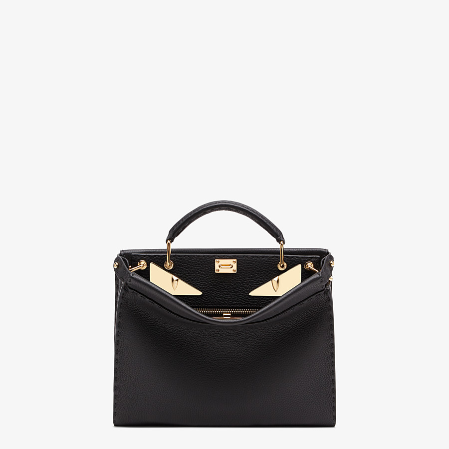 FENDI PEEKABOO ICONIC FIT MINI - Black leather bag - view 1 detail