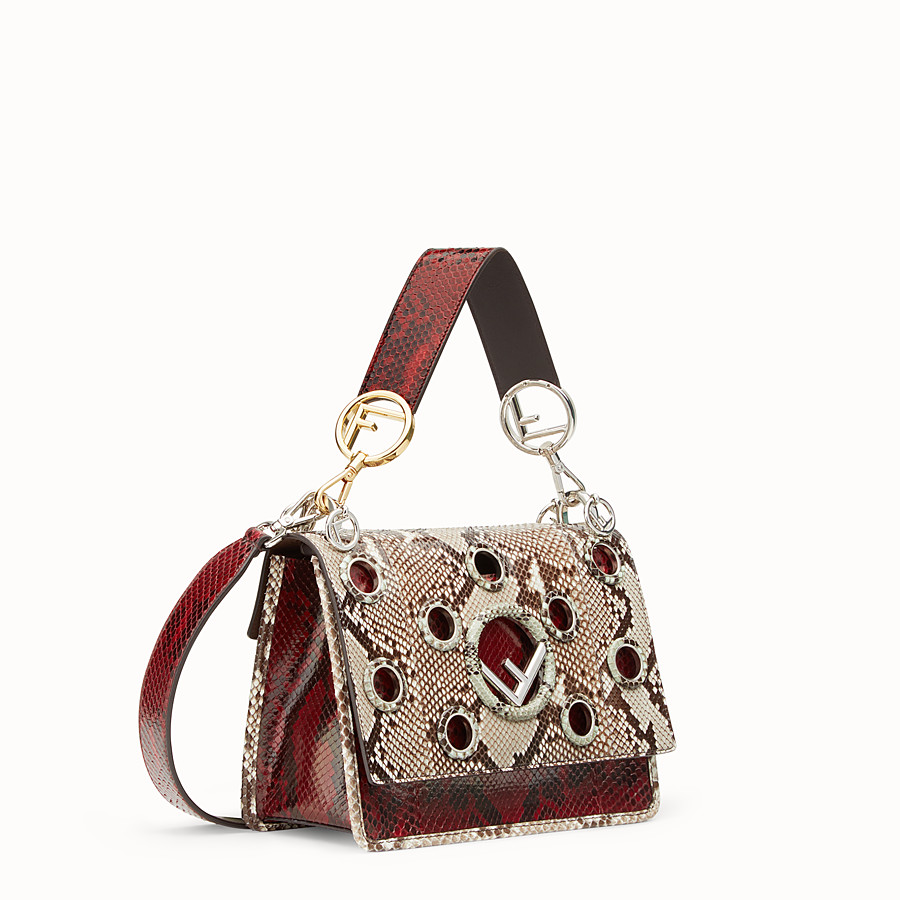 FENDI KAN I F - White and dark red python bag - view 2 detail