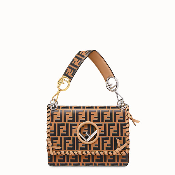 FENDI KAN I F - Borsa in pelle marrone - vista 1 thumbnail piccola