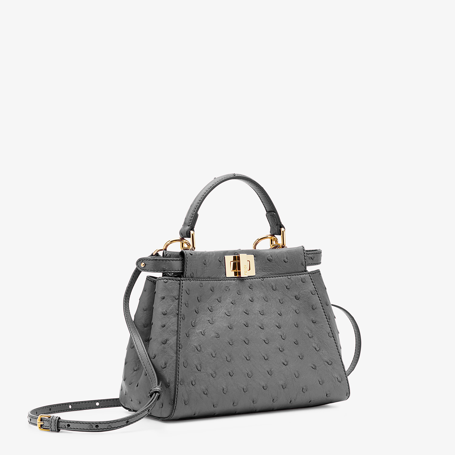 FENDI PEEKABOO ICONIC MINI - Gray ostrich leather bag - view 2 detail