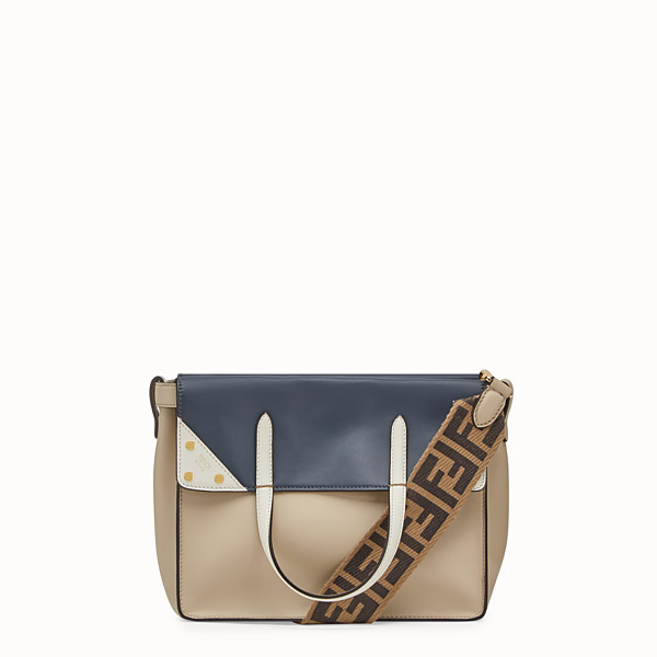 FENDI SMALL FENDI FLIP - Beige leather bag - view 1 small thumbnail