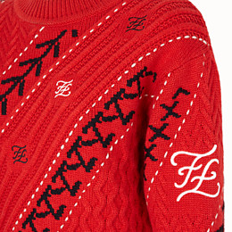 FENDI PULLOVER - Red cashmere jumper - view 3 thumbnail