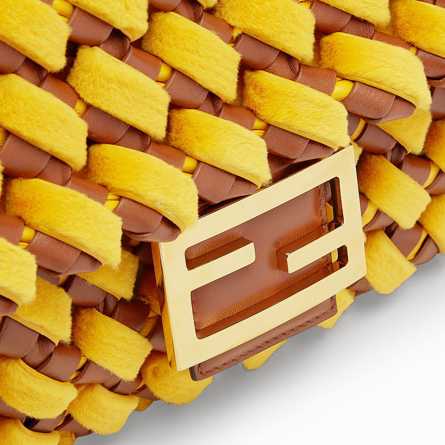 FENDI BAGUETTE LARGE - Yellow mink and nappa leather bag - view 6 detail