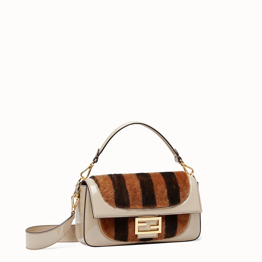FENDI BAGUETTE - Multicolour, patent leather and sheepskin bag - view 3 detail