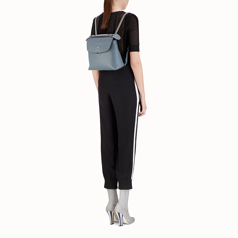FENDI BACK TO SCHOOL BACKPACK - Small blue leather backpack - view 6 detail