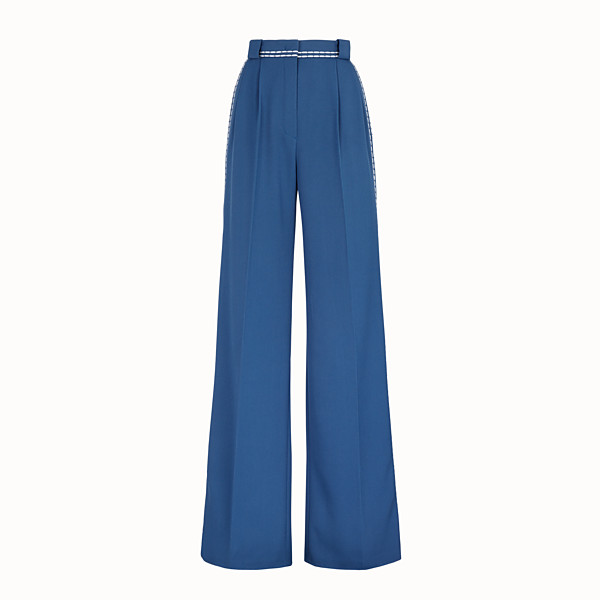 FENDI TROUSERS - Blue wool trousers - view 1 small thumbnail