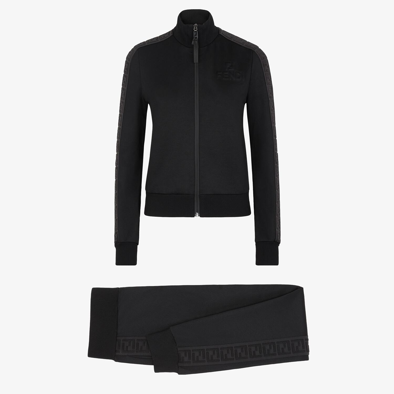 FENDI JUMPSUIT - Black piqué jersey tracksuit - view 1 detail