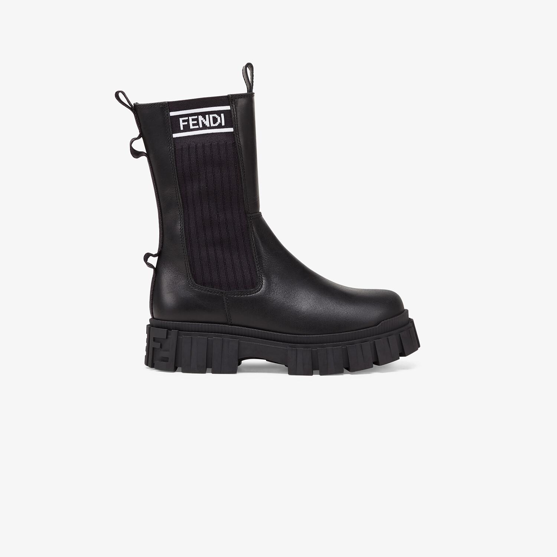 FENDI JUNIOR BIKER BOOTS - Black leather junior biker boots - view 1 detail