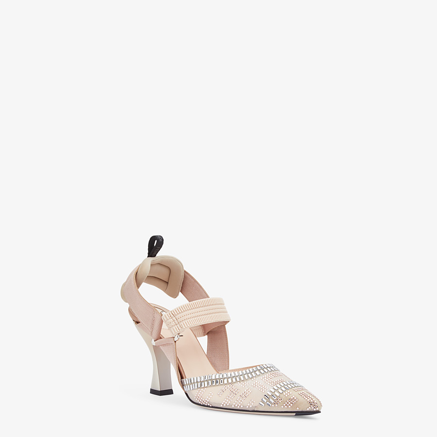 FENDI SLINGBACKS - Colibrì in nude mesh and leather - view 2 detail