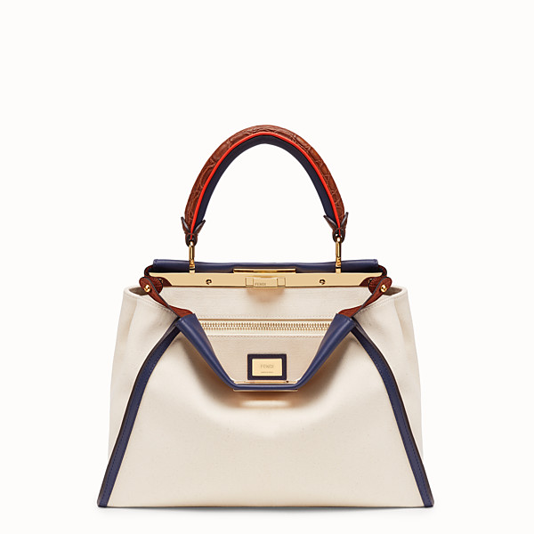 FENDI PEEKABOO ICONIC MEDIUM - Borsa in canvas bianco ed esotico - vista 1 thumbnail piccola