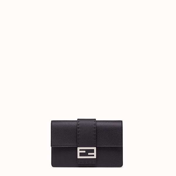 FENDI STANDING CLUTCH - Black calf leather pochette - view 1 small thumbnail
