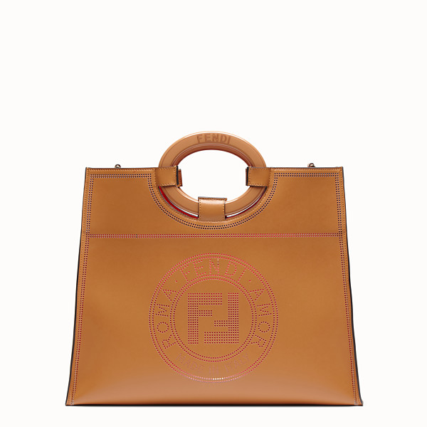 FENDI RUNAWAY SHOPPER - Brown leather shopper - view 1 small thumbnail