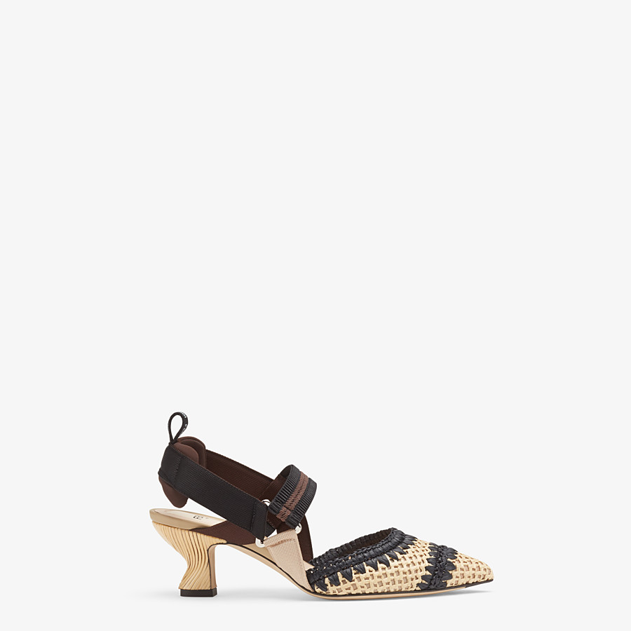 FENDI SLINGBACKS - Black raffia Colibrì slingbacks - view 1 detail