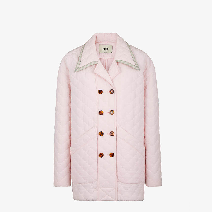 FENDI JACKET - Pink quilted crêpe de chine jacket - view 1 detail