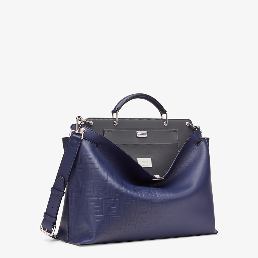 FENDI PEEKABOO ICONIC ESSENTIAL - Blue calf leather bag - view 2 detail