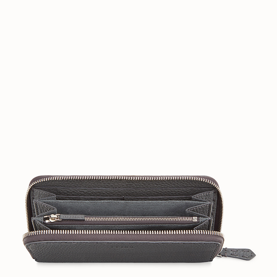 FENDI ZIP-AROUND - Wallet in gray leather - view 4 detail