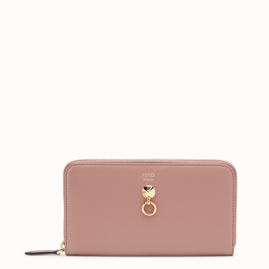 FENDI ZIP-AROUND - Pink leather wallet - view 1 detail