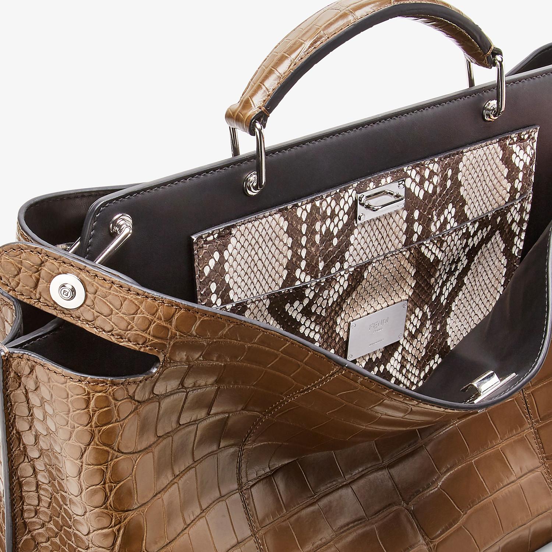 FENDI PEEKABOO ICONIC ESSENTIAL - Brown alligator leather bag - view 5 detail