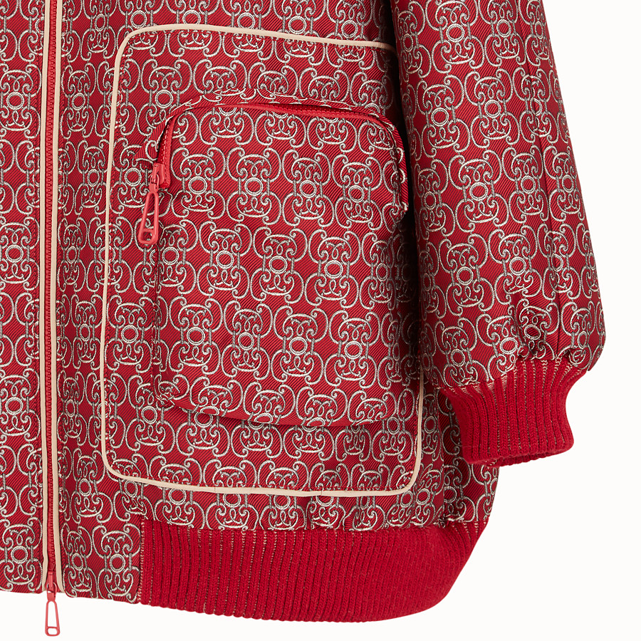 FENDI BOMBER - Red jacquard bomber jacket - view 3 detail