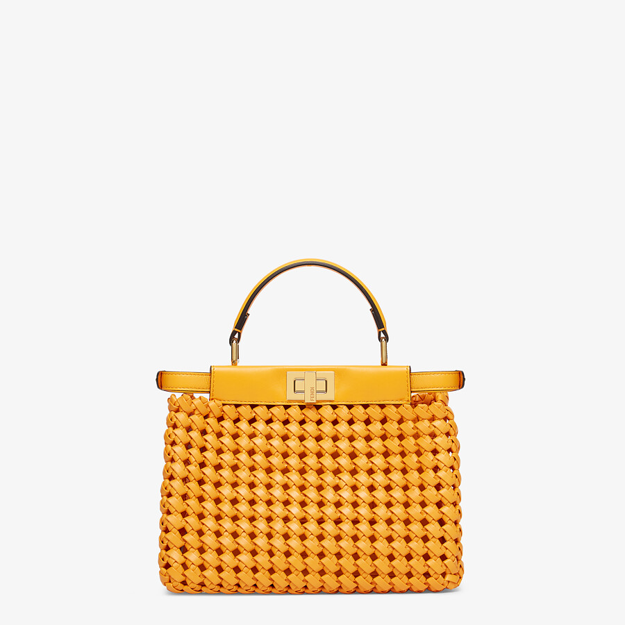 FENDI PEEKABOO ICONIC MINI - Orange braided leather bag - view 3 detail
