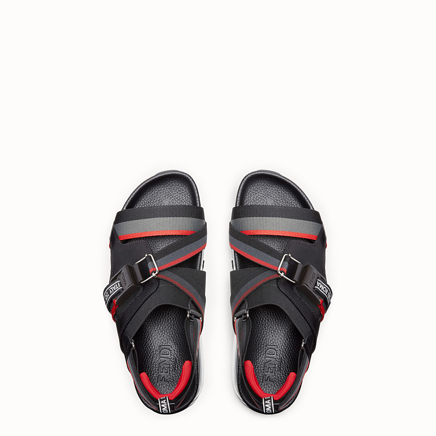 FENDI SANDALS - PU and black leather sandals - view 4 detail