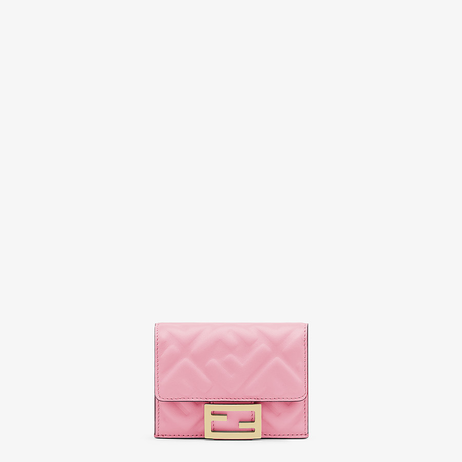 FENDI MICRO TRIFOLD - Pink nappa leather wallet - view 1 detail