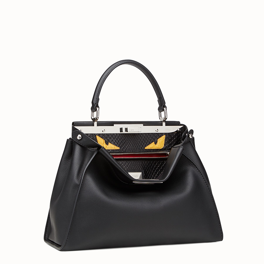 FENDI PEEKABOO REGULAR - handbag in leather and python with Bag Bugs pattern - view 2 detail