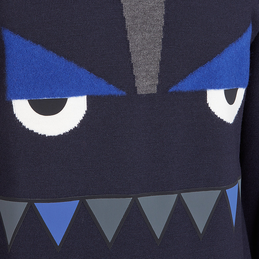 FENDI PULLOVER - Blue wool jumper - view 3 detail
