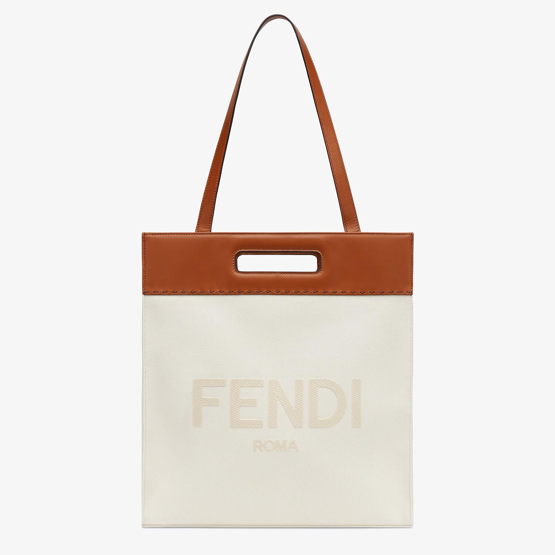 FENDI SHOPPING BAG - Beige canvas shopper - view 2 detail