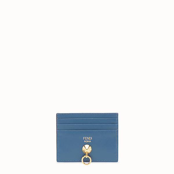 FENDI CARD HOLDER - Blue leather flat card holder - view 1 small thumbnail