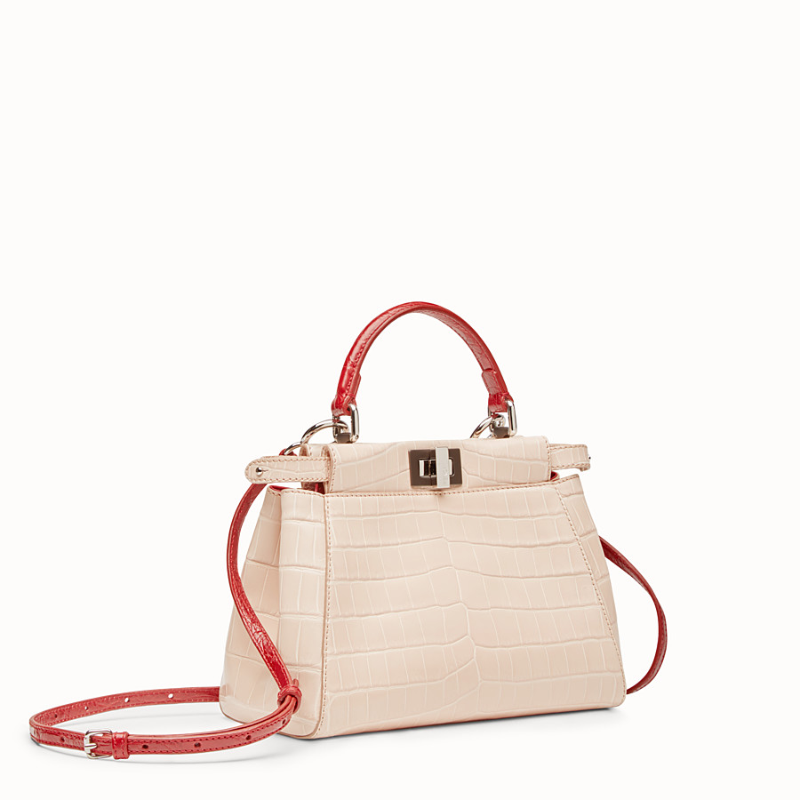 FENDI PEEKABOO MINI - Pink crocodile leather handbag. - view 2 detail