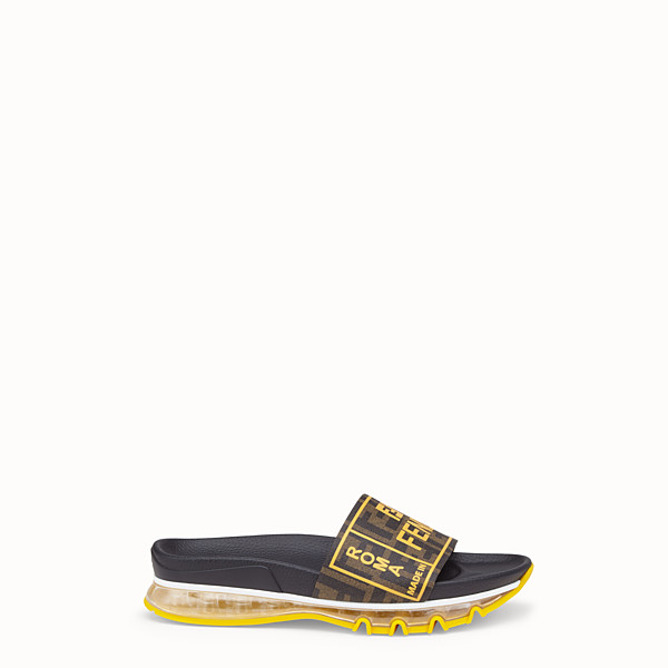 FENDI SLIDE - Fussbet in PU marrone - vista 1 thumbnail piccola