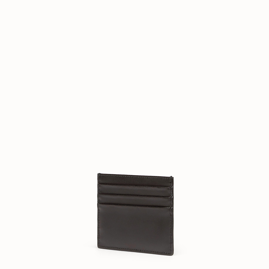 FENDI CARD HOLDER - Flat black leather card holder - view 2 detail