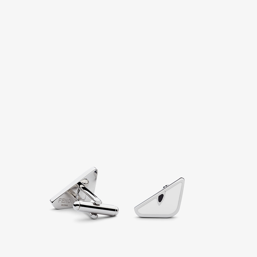 FENDI CUFF LINKS - in white enamelled metal - view 1 detail
