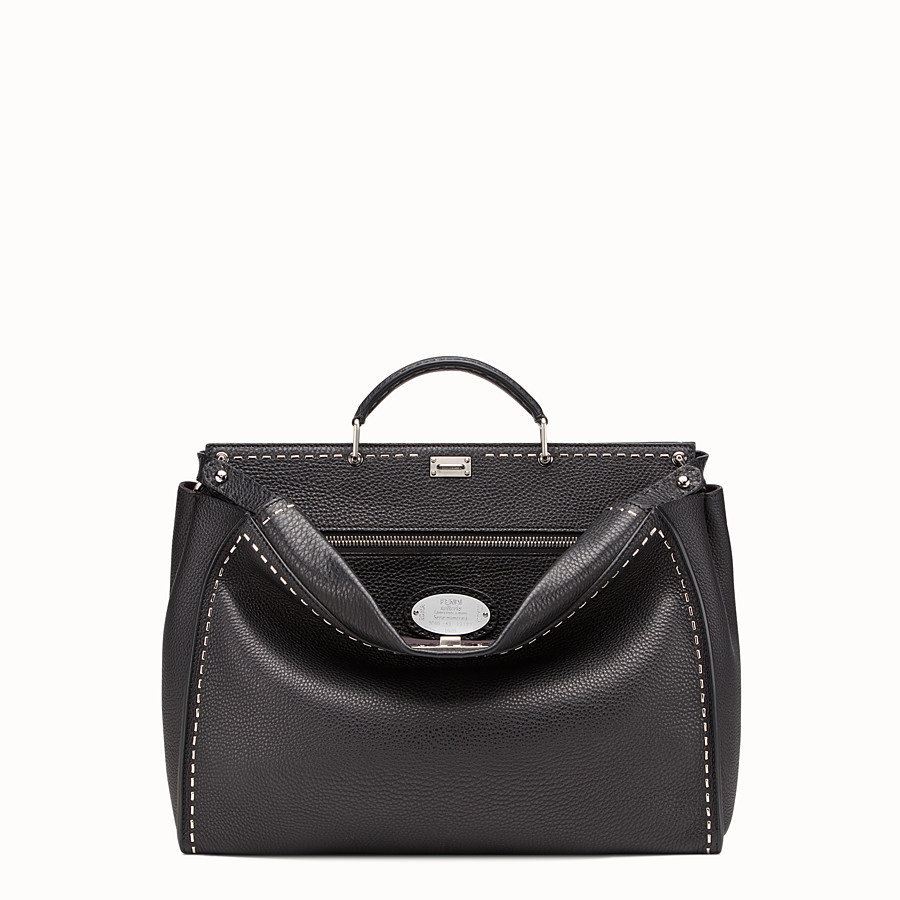 FENDI PEEKABOO - in black Roman leather with metallic stitching - view 1 detail