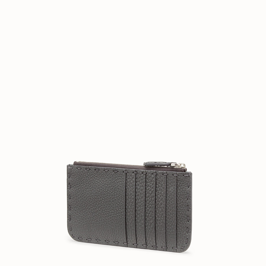 FENDI CARD POUCH - Grey leather pouch - view 2 detail