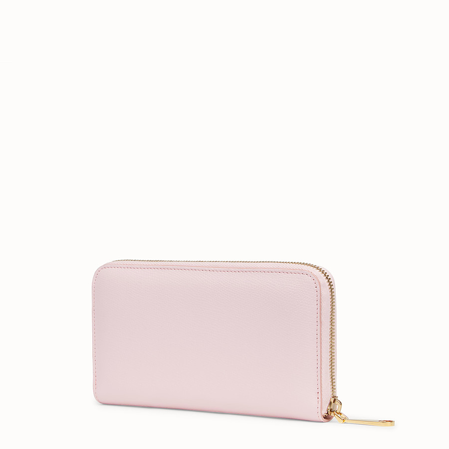 FENDI ZIP-AROUND - Pink leather wallet - view 2 detail