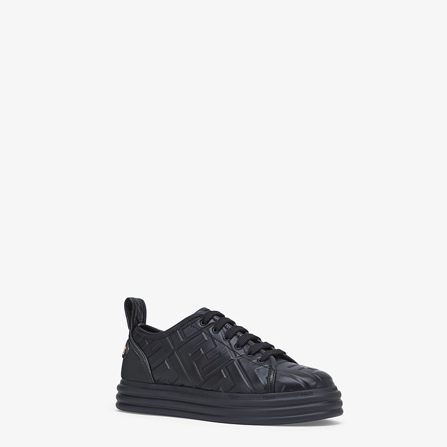 FENDI FENDI RISE - Black leather flatform sneakers - view 2 detail