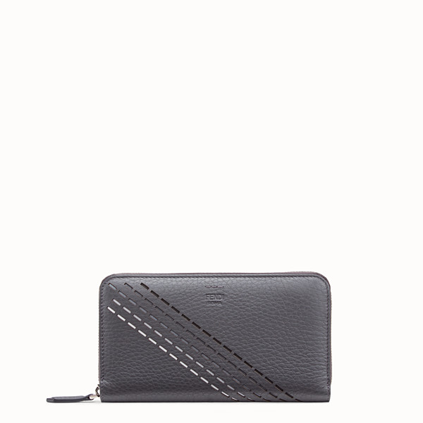 FENDI ZIP-AROUND - Grey calf leather wallet - view 1 small thumbnail