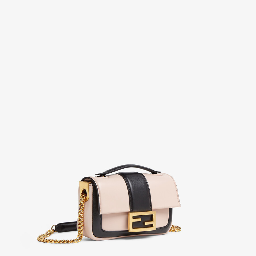 FENDI MINI BAGUETTE CHAIN - Pink and black nappa leather bag - view 2 detail