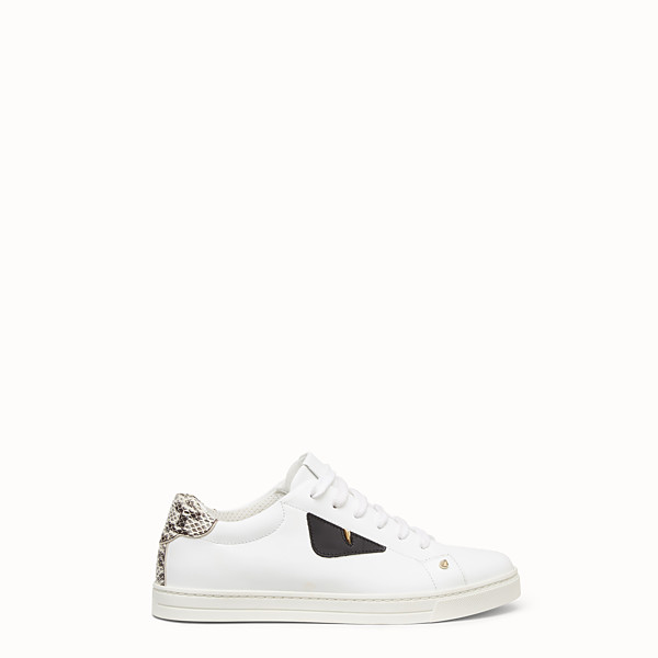 FENDI SNEAKERS - White leather sneakers with exotic details - view 1 small thumbnail