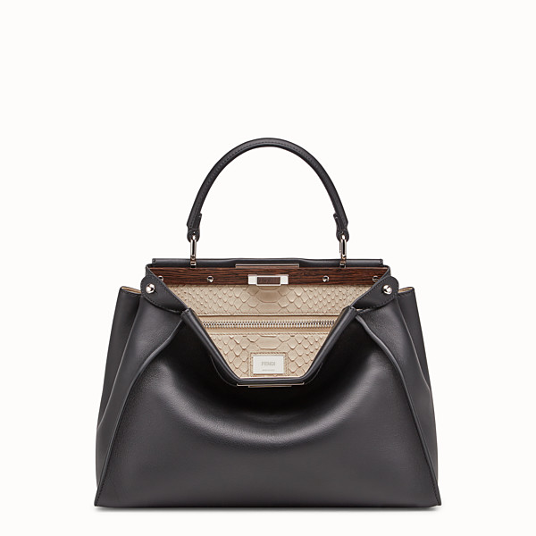 FENDI PEEKABOO REGULAR - Black leather bag with exotic details - view 1 small thumbnail