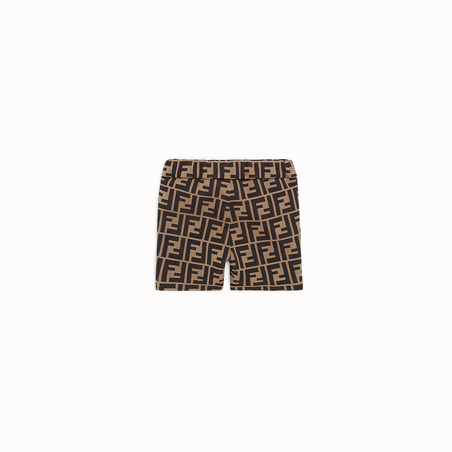 FENDI TROUSERS - Milano-stitch tobacco bermudas - view 2 detail