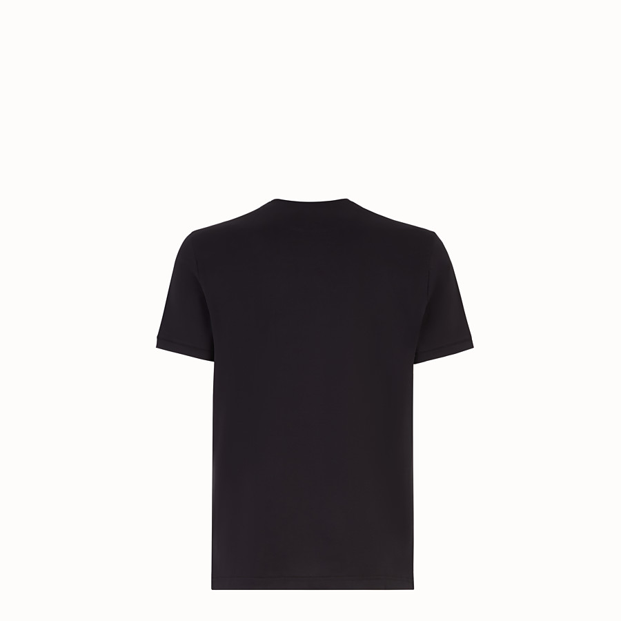 FENDI T-SHIRT - Black jersey T-shirt with crystals - view 2 detail